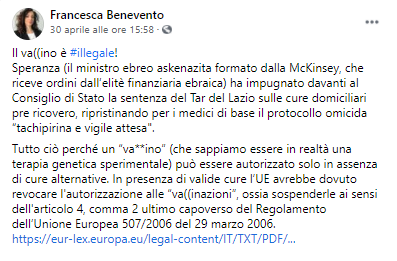 Francesca Benevento screenshot facebook Speranza-2