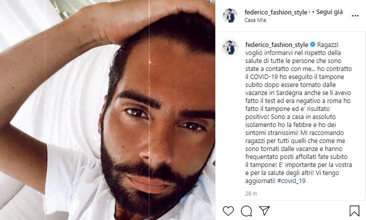 Federico Fashion Style positivo Covid19 2-2