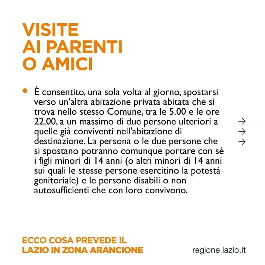 zona arancione regole per viste ad amici e parenti