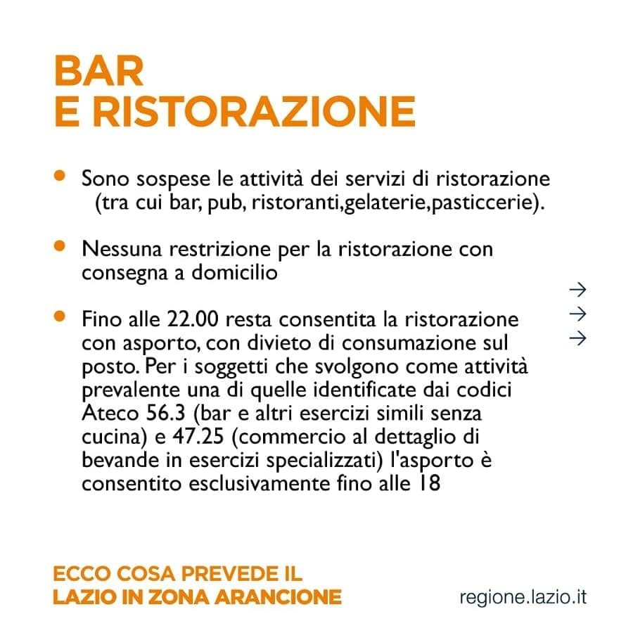 zona arancione regole per bar e ristoranti