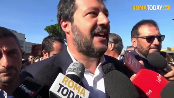 VIDEO | Blitz di Salvini a Rocca Cencia, ma il Tmb è in manutenzione e non può entrare
