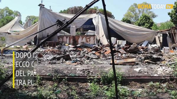 VIDEO | Villa De Sanctis: ad un mese dal rogo è ancora tutto lì, dai rifiuti a quel che resta del teatro tenda