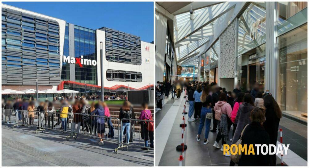 Il Covid non ferma lo shopping: anche di lunedì file per Primark, folla al Maximo