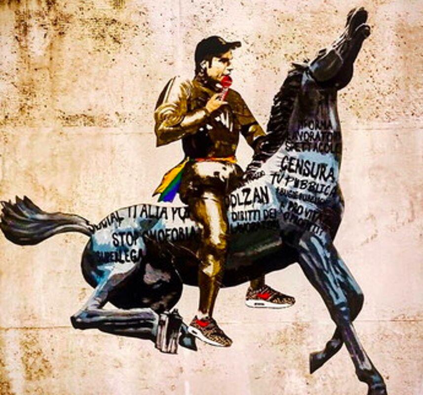 Fedez doma la Rai nell'ultimo murale di Harry Greb