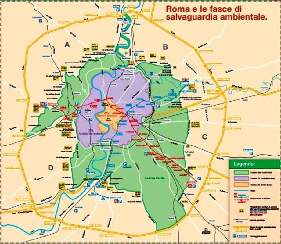 Blocco del traffico Roma 10 Febbraio 2019 Mappa-fascia_verde-2